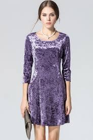 purple three quarter sleeve velvet dress casual dresses women