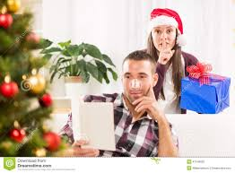 shhhh i have a christmas gift for him stock photo image 47549930