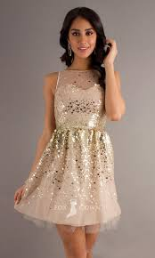 champagne sequin sheer illusion boat neck sleeveless a line short
