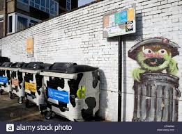 hackney borough council recycling bins in front of a wall mural hackney borough council recycling bins in front of a wall mural depicting sesame street s oscar the grouch