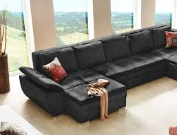 wohnlandschaft u form mit schlaffunktion wohnlandschaft sarab schwarz 395x210 cm u form schlafsofa couch
