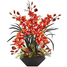 Home Decor Silk Flower Arrangements Nearly Natural Cymbidium Orchid With Black Vase 1404 Bg The Home