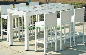 white pub table set white rattan bar furniture set garden bar table and chairs in garden