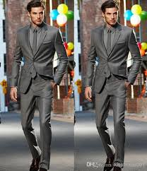 dark grey slim fit side slit two buttons notch lapel groom tuxedos