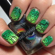 bundle monster shangri la stamping over green gradient newsie