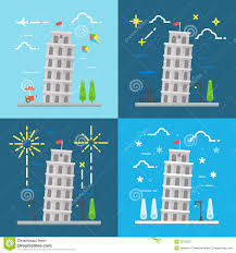 flat design of 4 styles leaning tower of pisa italy stock vector