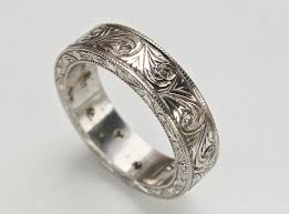 mens vintage rings images Men 39 s art carved ring with diamonds and vintage swirl jpg