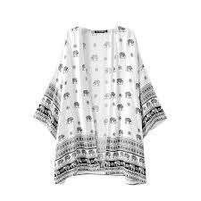 elephant blouse sannysis coat elephant printed kimono cardigan tops blouse