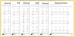 year 5 ordering fractions activity sheet year 5 ordering
