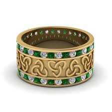 celtic wedding bands celtic wedding bands white diamond with green emerald in 18k