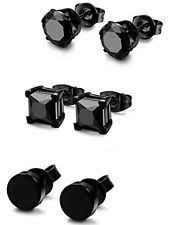 black stud earrings mens black ear studs for men ebay
