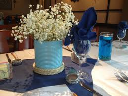 inexpensive nautical centerpieces made with tomato cans and
