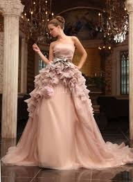 luxury ruffled champagne organza strapless ball gown wedding dress