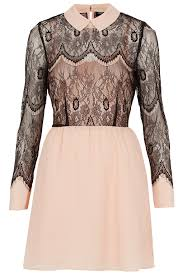 topshop dress lyst topshop lace overlay flippy dress in pink