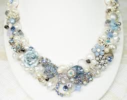 light blue statement necklace reserved for nikki light blue bridal bib necklace pearl vintage