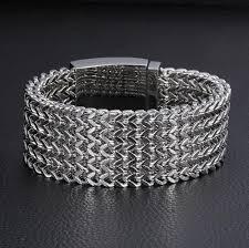 bracelet mesh images 23cm 30mm wide heavy punk cool mens bracelet never fade gold jpg