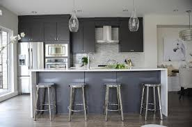 Modern Colors For Kitchen Cabinets Modern Gray Kitchen With Round Chrome Counter Stools Modern