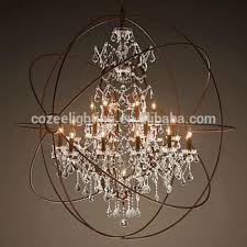 Cage Light Pendant North European Style Big Orb Industrial Cage Crystal Chandelier