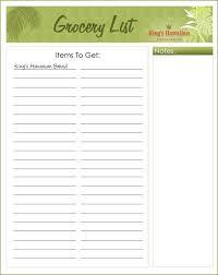 printable grocery list
