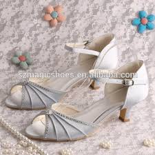 Wedding Shoes Sandals 14 Colors Silver Rhinestone Bridal Low Heel Wedding Shoes Sandals
