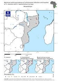 Mozambique Map Distribution Of Schistosomiasis Survey Data In Mozambique Global