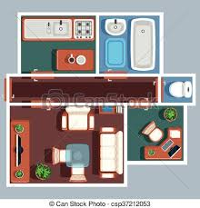 clipart vector of apartment floor vector plan with furniture plan