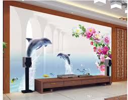 3d wallpaper for room customized wallpaper for walls dolphin tv