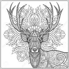 coloring page with deer om mandala background coloring book