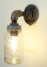 mason jar light with plumbing pipe fixture green diy