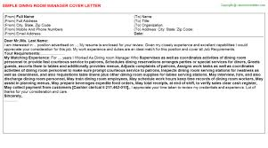 Dining Room Manager Dining Room Manager Cover Letter