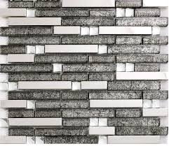 Steel Tile Backsplash by Grey Glass Interlocking Mosaic Tile Silver 304 Stainless Steel