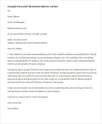 sample personal recommendation letter 6 examples in word pdf