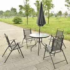 Outdoor Round Table 6 Pcs Outdoor Patio Folding Round Table And Chair Outdoor