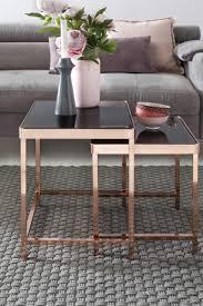 Wohnzimmer Tisch Modern Wohnling Design 2er Set Satztisch Couchtisch Metall Glas Schwarz