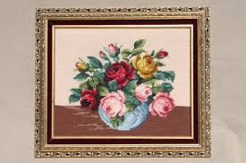 bohemian vintage framed bouquet crewel wool needlepoint