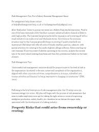 risk management plan for a bakery business management essay