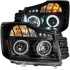 nissan titan yellow fog light nissan titan 08 13 projector l e d headlights halo black clear