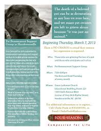 pet bereavement four seasons upcoming pet bereavement support