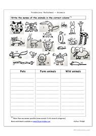 2051 free esl animals worksheets