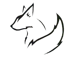 fox outline pencil and in color fox outline