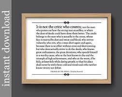 printable history quotes man in the arena printable quote graduation gift roosevelt quote