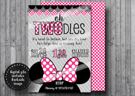 Minnie Invitation Card Oh Twodles Invitations Free Thank You Cards Toodles Minnie