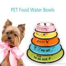 2018 Dog Food Bowls Anti Skid Colorful Cartoon Pet Water Feeder