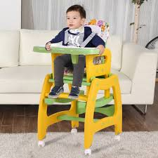baby chair that attaches to table costway 3 in 1 baby high chair convertible play table seat booster
