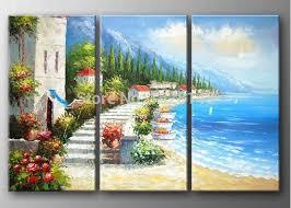 4 piece wall paintings home decorative modern sunset beach