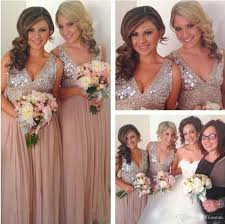 dusty pink bling silver sequined long bridesmaid dresses a line