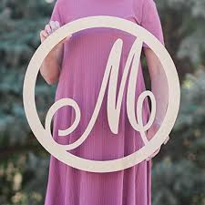 sale 12 36 inch circle script wooden monogram letters