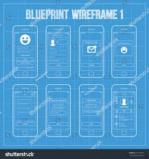create a blueprint blueprint wireframe mobile app ui kit stock vector 215335660