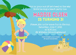 Sample Birthday Invitation Card For Adults Beach Birthday Invitations Themesflip Com