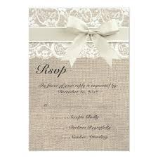 burlap and lace ribbon ivory lace ribbon and burlap wedding rsvp card zazzle